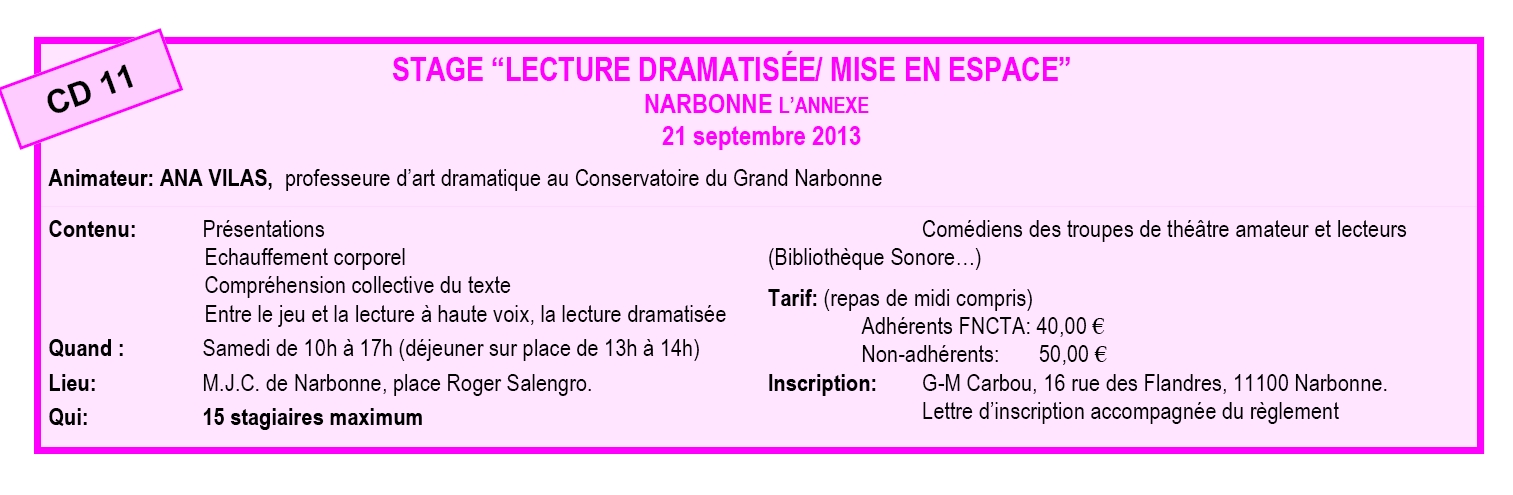 stage lecture narbonne