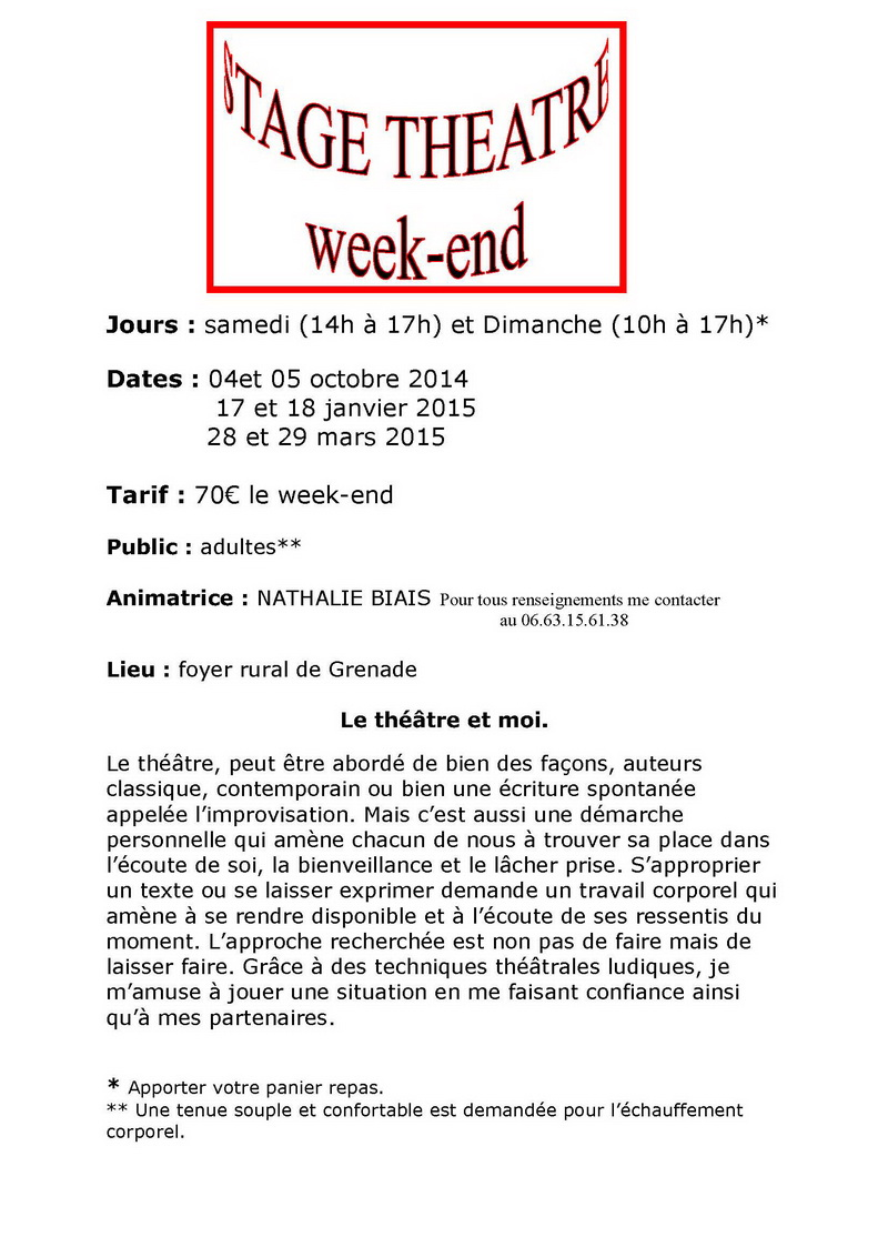 stage théatre adultes weekend 2014-2015